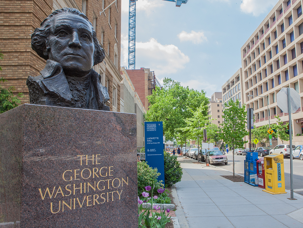 Bust of George Washington on main campus