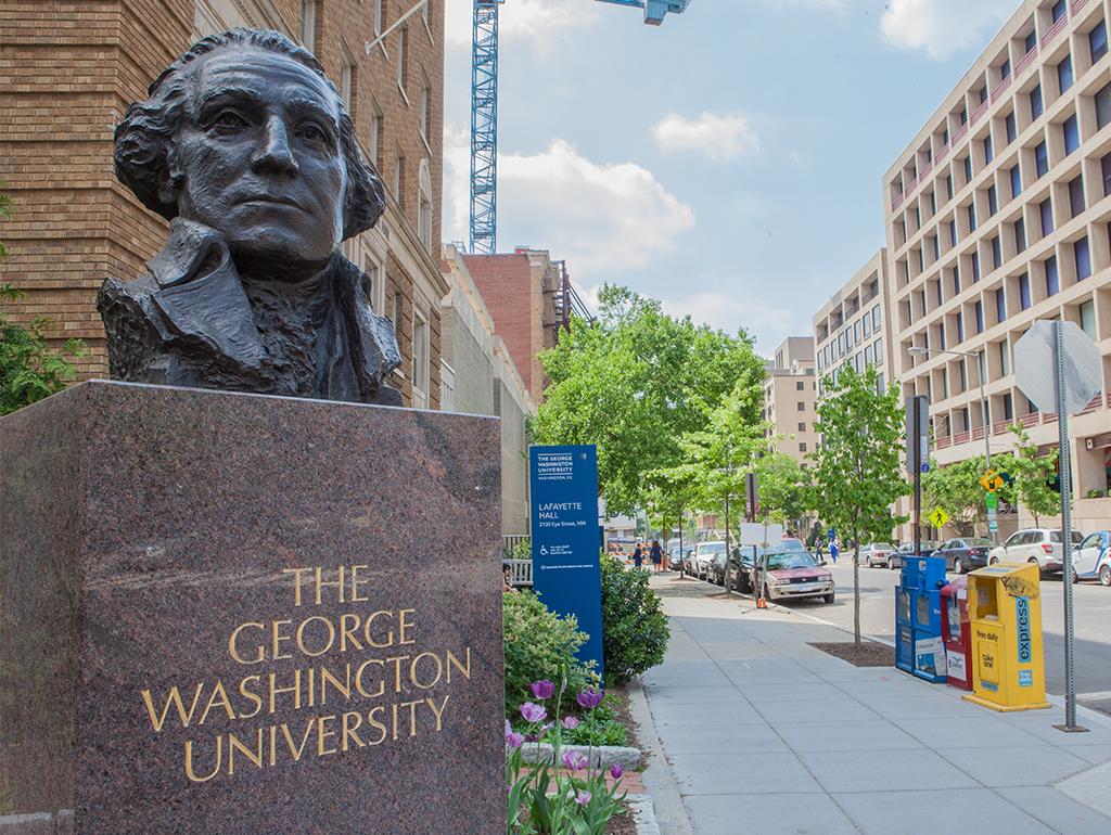 Bust of George Washington on main campus