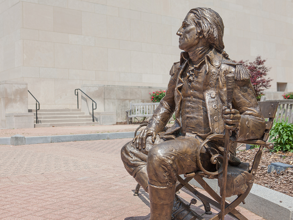 Bronze statue of George Washington in Kogan Plaza