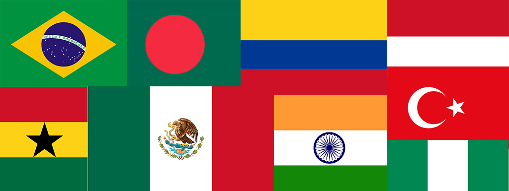 Flags of countries that qualify for Global Funding Initiative