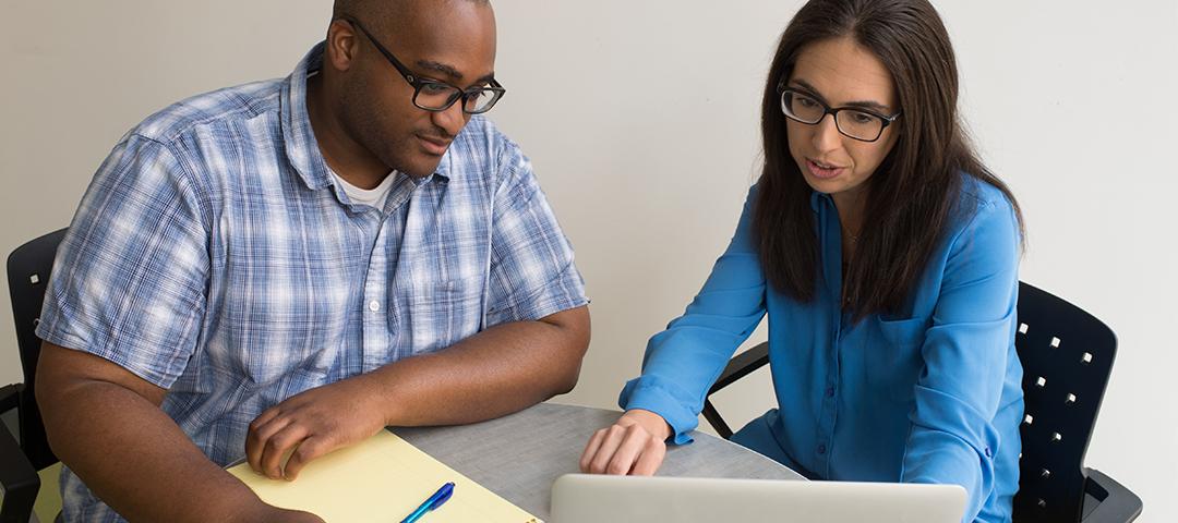 Student receiving professional advising