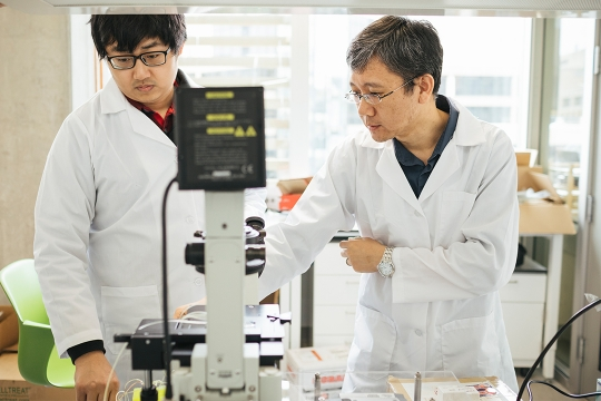 BME professor Zhenyu Li and student conducting research