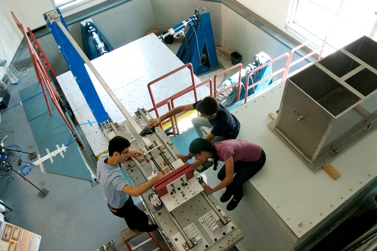 Students in civil engineering lab conducting experiments