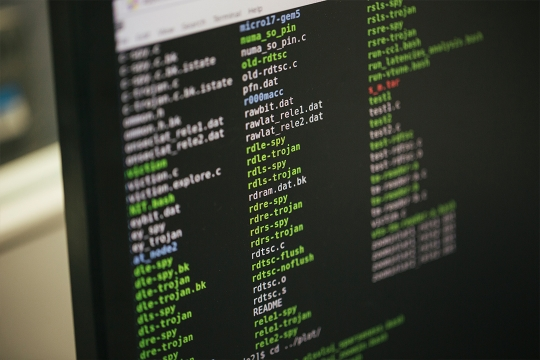 Programming code on a computer screen