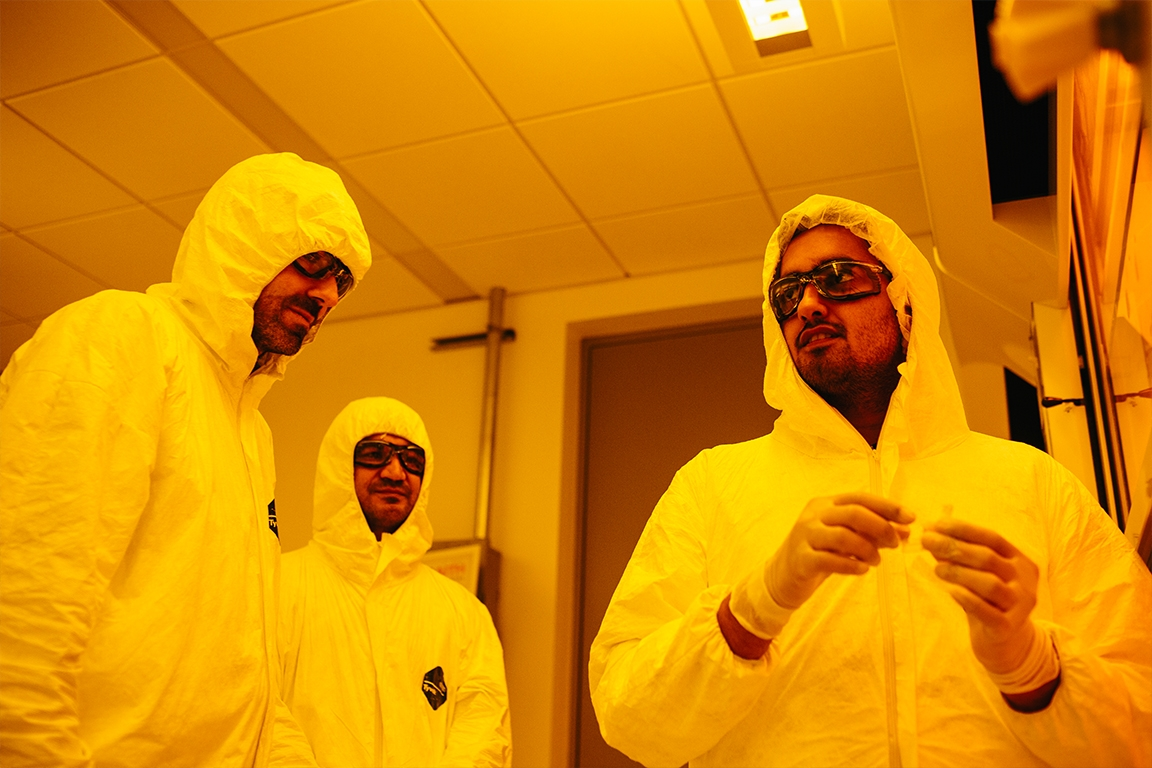 Students testing nanotechnology in the clean room lab