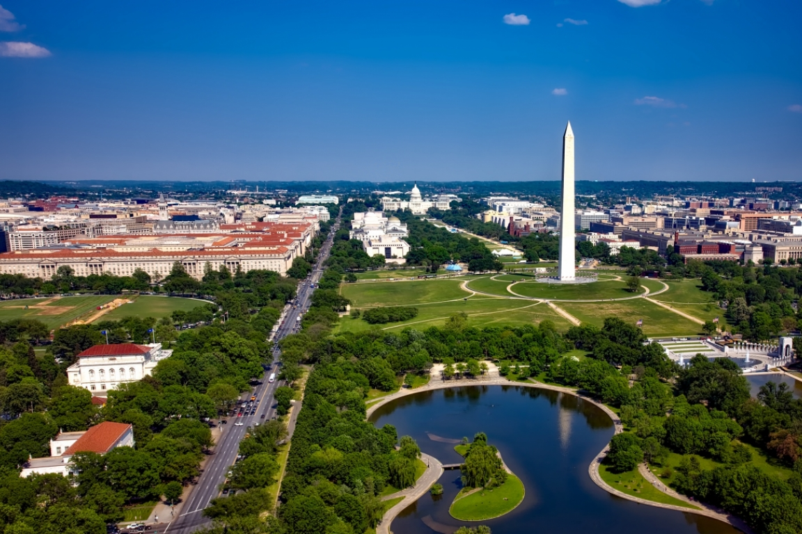 Aerial view of National Mall