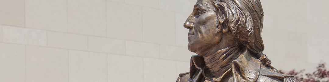 Bronze statue of George Washington in Kogan Plaza